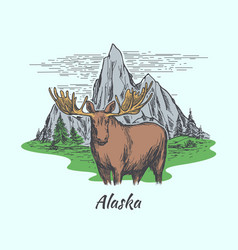 alaska poster with moose and mountains vector image
