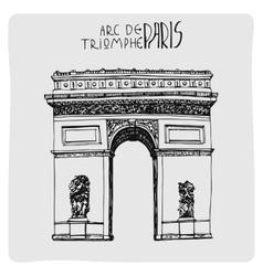Arc de triomphe hand drawn acrh in Paris vector image vector image