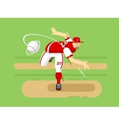 Baseball player cartoon character vector image vector image