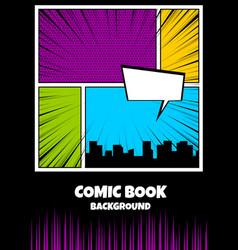 color comics book cover vertical backdrop vector image