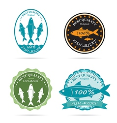 Set of an fish label vector image