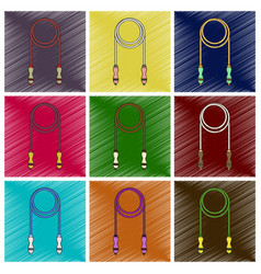 set of flat shading style icon jump rope vector image vector image