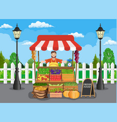 traditional wooden market food stall vector image