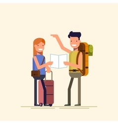 Two travelers are choosing a route map A guy and vector image vector image