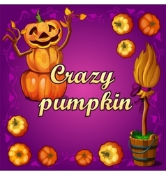 Crazy pumpkin and other witchcraft vector image vector image