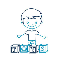 cute boy with blocks character icon vector image