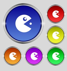 pac man icon sign Round symbol on bright colourful vector image vector image