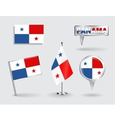 Set of Panamanian pin icon and map pointer flags vector image