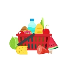 Shopping basket with grocery products full of vector image vector image