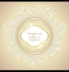 Wedding or sweet frame with pearls petals and lace vector image
