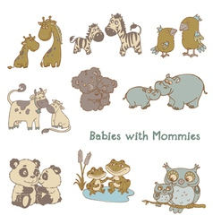 Babies with Their Mommies vector image vector image