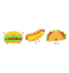 cute cartoon fast food icons set vector image vector image
