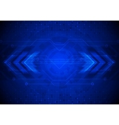 Dark tech background with circuit board and vector image vector image