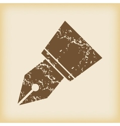Grungy ink pen nib icon vector