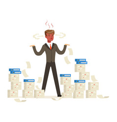 Overworked businessman with red face standing is vector