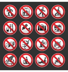 prohibited signs gray background vector image vector image