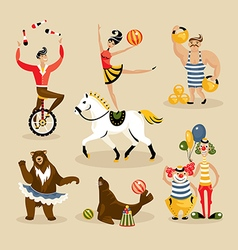 Set of circus characters vector