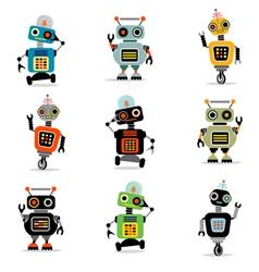 cute robots set 3 vector image vector image
