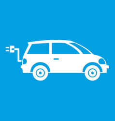 electric car icon white vector image