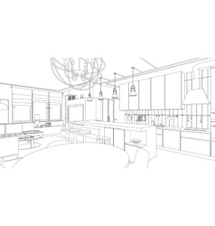 Interior line drawing vector image