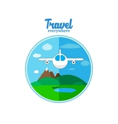 Plane flaying under landscape vector image