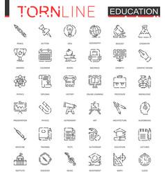 school education thin torn line web icons set vector image