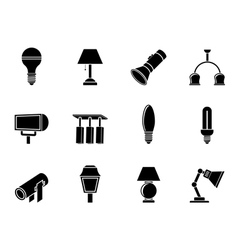 Silhouette different kind of lighting equipment vector image vector image