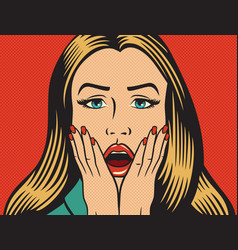surprised or shocked woman in the pop art style vector image vector image