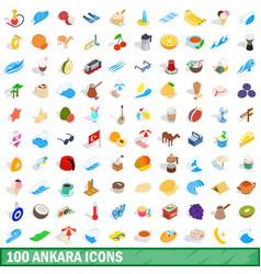 100 ankara icons set isometric 3d style vector image
