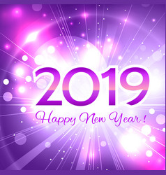 2019 pink number happy new year greeting card vector image