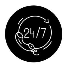 24 hours support black icon sign on vector image