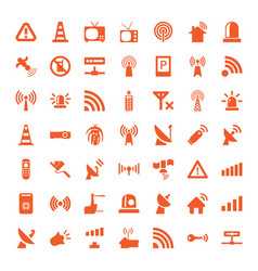 49 signal icons vector image