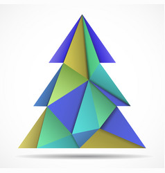 abstract colorful christmas tree of triangles vector image