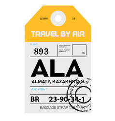 Almaty airport luggage tag vector