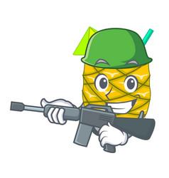 Army pineapple juice garnished with on cartoon vector