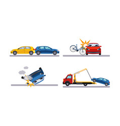 auto accidents set car crash flat vector image