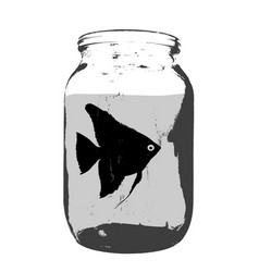 black silhouette of aquarium fish in a jar with vector image
