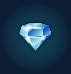 blue dazzling diamond on black background vector image