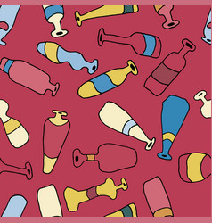 bottles different coloured seamless red pattern vector image