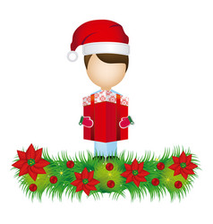 boy faceless with gift and wreath with christmas vector image