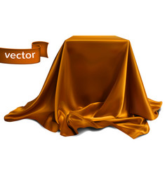Brown silk fabric covering the podium beautiful vector