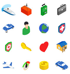 Business travel icons set isometric style vector