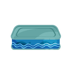 canned fish tinned food in metal container vector image