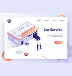 car repair service isometric landing page vector image