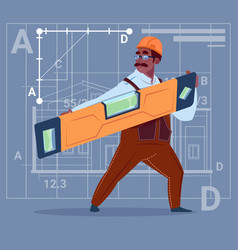 Cartoon african american builder holding carpenter vector