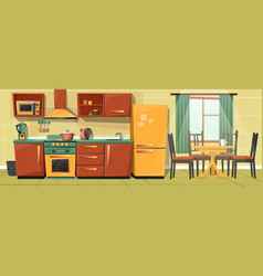 cartoon family kitchen with appliances vector image