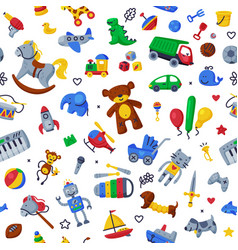 children toys seamless pattern cute colorful vector image