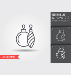 christmas tree decoration line icon with editable vector image