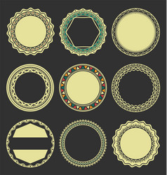 Collection of round decorative border frames with vector
