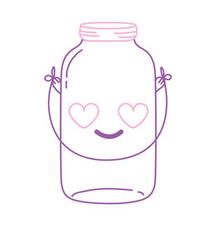 Color line mason glass in love kawaii with wire vector